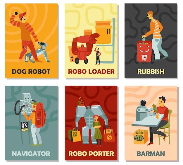 Robots con perro de deberes, bote de basura, navegador, barman, portero, tarjetas verticales sobre fondo de color aislado ilustración vectorial