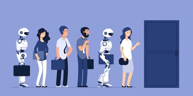 Robots y personas desempleadas. concurso de android y hombre por trabajo.
