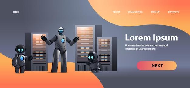 Robots en la sala de servidores gran nube análisis de datos tecnología de inteligencia artificial