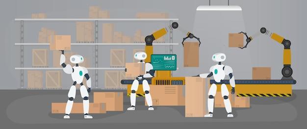 Los robots trabajan en un almacén de fabricación.
