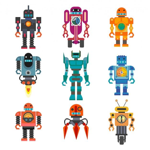 Robots y transformadores dibujos animados retro juguetes conjunto de iconos planos
