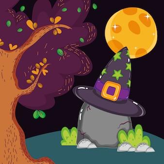 Roca con sombrero bosque luna halloween