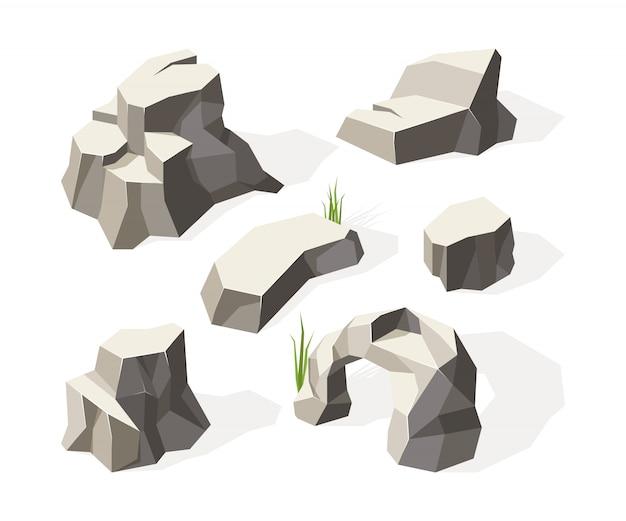 Rocas isométricas. piedras grises para la construcción de paredes, bloque de granito, superficie de rocas minerales