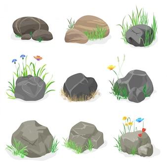 Rocas, piedras con conjunto de hierba
