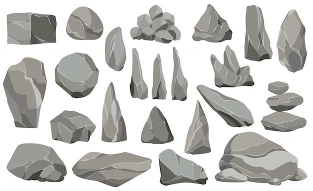 Rocas y piedras solas o apiladas por daños y escombros. piedras grandes y pequeñas. conjunto de iconos de diseño plano