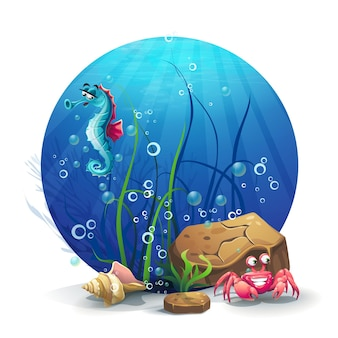Rocas submarinas con caballitos de mar y cangrejos.