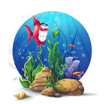 Rocas submarinas con diversión de algas y peces.