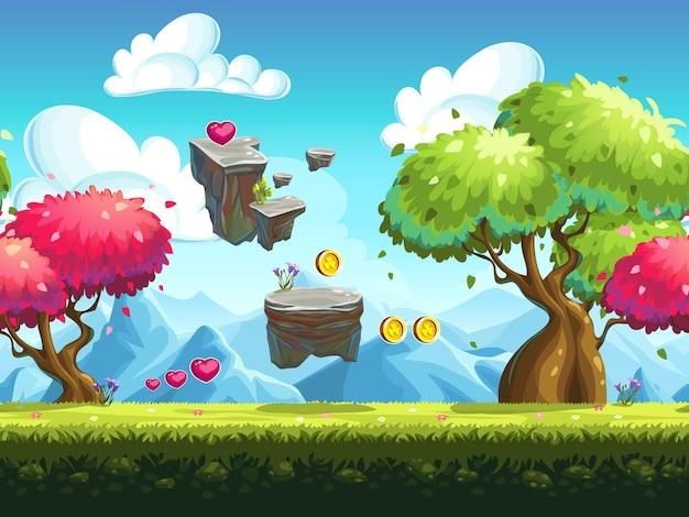 Rocas voladoras sin fisuras y árboles coloridos en el bosque