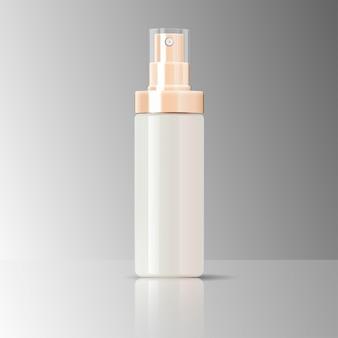 Rociador de botellas cosmética de envases de vidrio brillante.