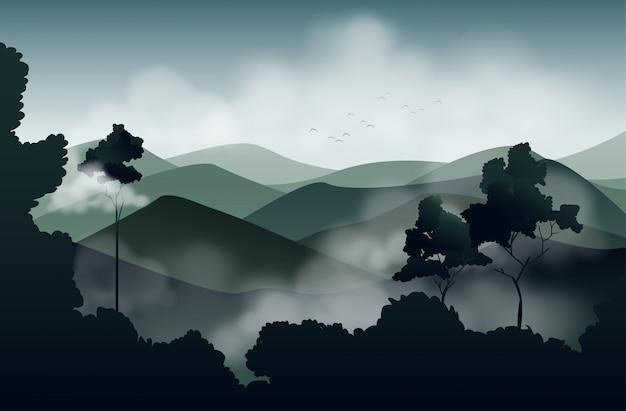 Rocío de la mañana en el paisaje de las montañas