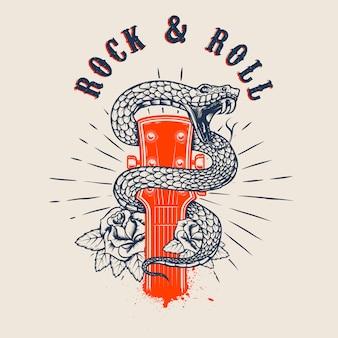 Rock and roll. cabeza de guitarra con serpiente y rosas. elemento para cartel, tarjeta, pancarta, emblema, camiseta. ilustración