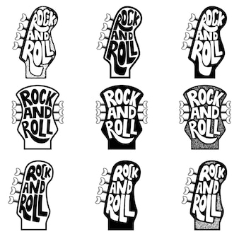 Rock and roll. conjunto de frase dibujada a mano sobre fondo de cabeza de cuello de guitarra. elemento para cartel, emblema, signo. ilustración