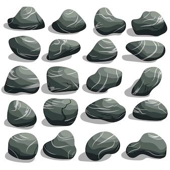 Rock piedra conjunto de dibujos animados.