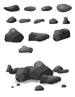 Rock piedra gran conjunto de dibujos animados