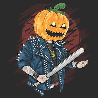 Rocker de cabeza de calabaza en la fiesta de halloween