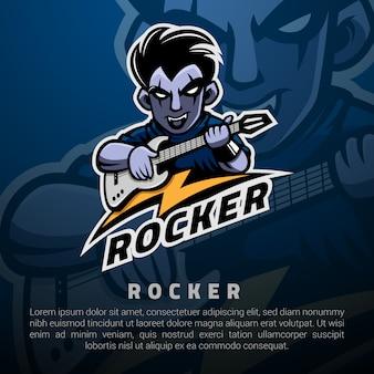 Rocker man y su plantilla de logotipo de guitarra eléctrica