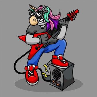 Rocker metal de unicornio de dibujos animados