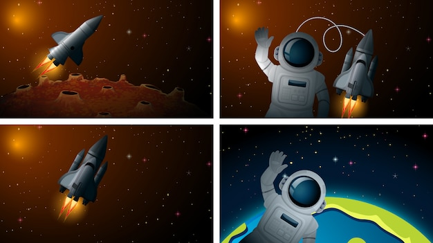 Rocket y astonauta escena o fondo
