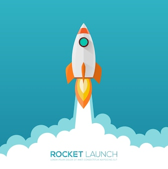 Rocket launch design icon and logo.