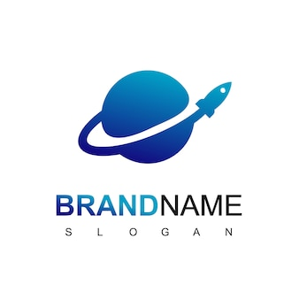 Rocket launch in planet logo