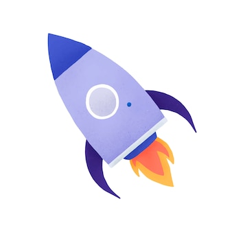 Rocket social media icono vector