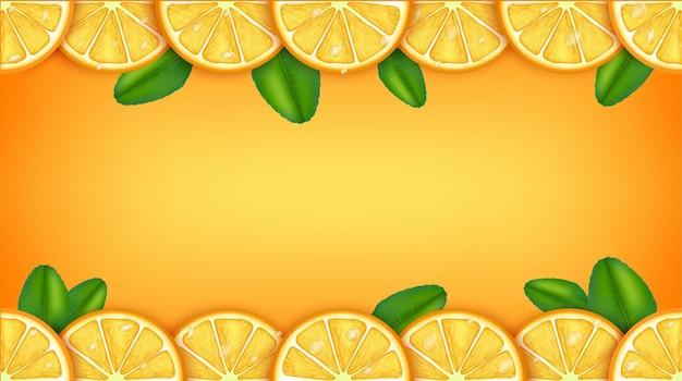 Rodaja de naranja rodaja de fruta alrededor hay un espacio para ingresar texto