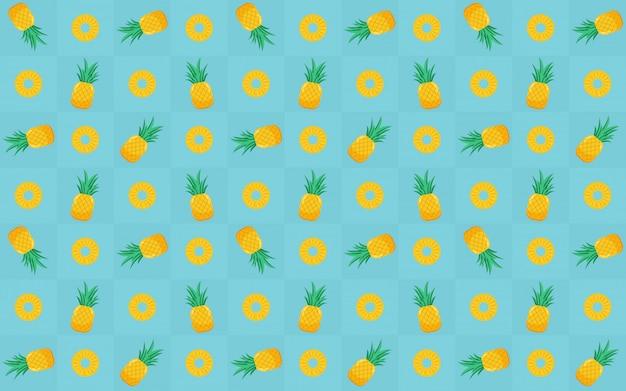 Rodaja de piña amarilla de patrones sin fisuras en el diseño de icono plano en azul