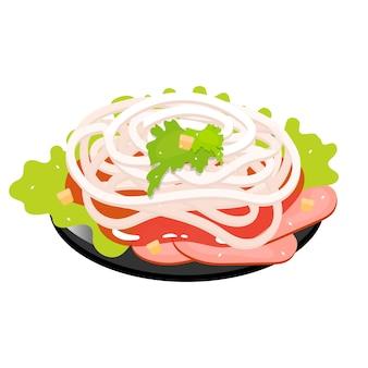 Rodajas de cerdo con cebolla dulce icono de color. acompañamiento asiático, ensalada. cocina tradicional oriental. pato pekin con condimento. comida china con carne y verduras. ilustración aislada
