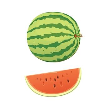 Rodajas y sandía roja fresca y jugosa. come sandías de frutas tropicales.