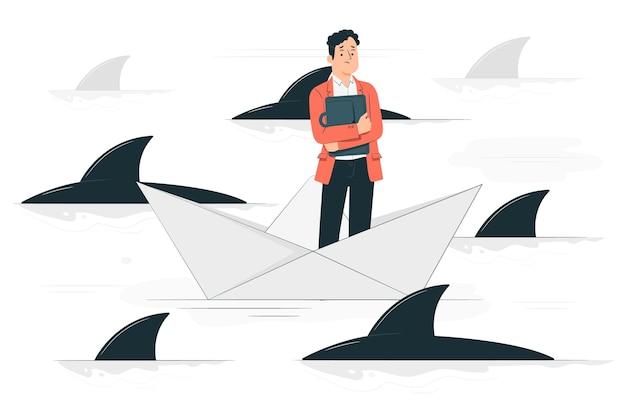 Rodeado de tiburones ilustración del concepto vector gratuito