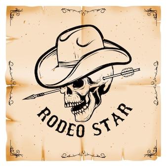 Rodeo estrella. cráneo de vaquero sobre fondo de estilo de papel viejo. elemento para cartel, tarjeta. ilustración