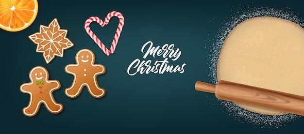 Rodillo de madera realista aislado, fondo azul, elementos de masa, galletas, dulces de navidad y naranja, feliz navidad, celebración