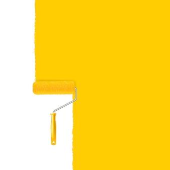 Rodillo de pintura amarilla y trazo de pintura