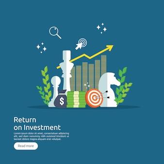 Roi de inversión de retorno o concepto de crecimiento empresarial financiero