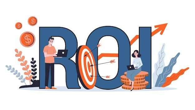 Roi o concepto de retorno de la inversión. idea de economía y beneficio financiero. riqueza financiera. ilustración de dibujos animados