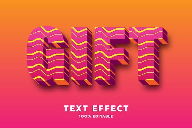 Rojo 3d con efecto de texto de estilo de líneas onduladas