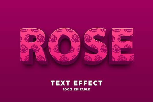 Rojo 3d con efecto de texto de patrón de rosa