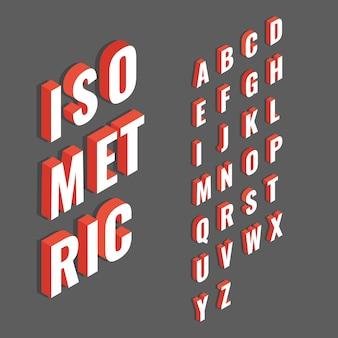 Rojo con blanco fuente isométrica 3d, letra del alfabeto tridimensional