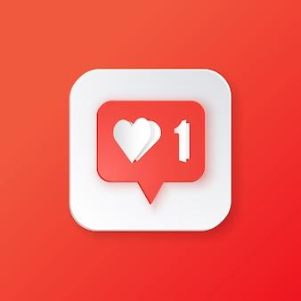 Rojo como icono. botón para redes sociales.
