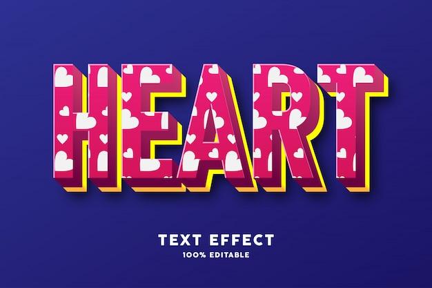 Rojo con efecto de texto de estilo de patrón de amor