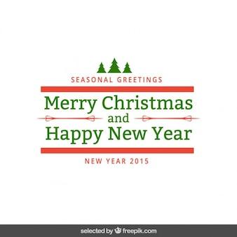 Rojo y verde felicitación de navidad de temporada