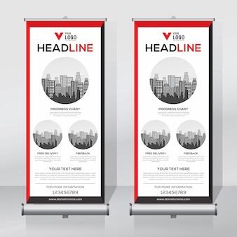Roll up banner, pull up banner, x-banner, plantilla de diseño moderno vector vertical nuevo