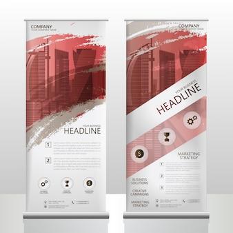 Roll up banner stand folleto flyer plantilla de diseño con salpicaduras de pincel