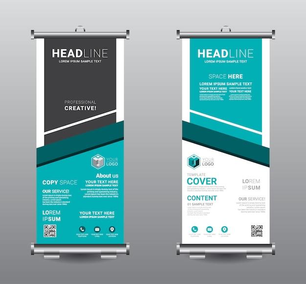 Roll up banner standee negocio plantilla de diseño.