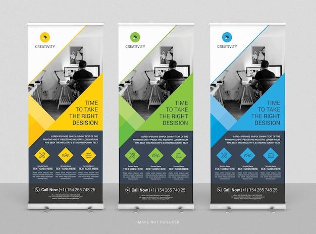 Roll up business banner design plantilla vertical