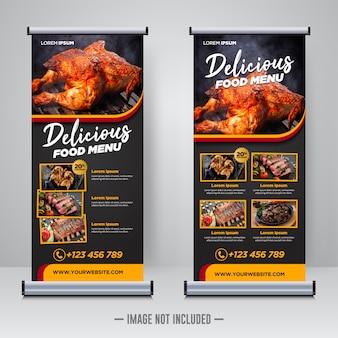 Roll up de comida de restaurante o plantilla de banner x