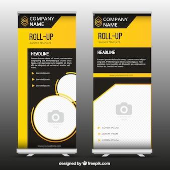 Roll up de negocios fantástico con formas amarillas