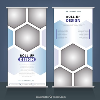 Roll up de negocios con figuras geométricas