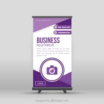 Roll up de negocios plano con formas moradas