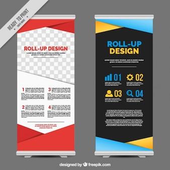Roll ups de negocios con formas geométricas coloridas